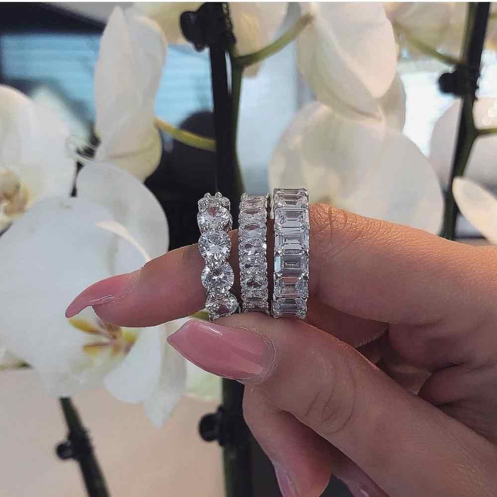 Vecalon, Женское кольцо вечности, 925 пробы, серебряные ювелирные изделия, Emeald cut AAAAA cz, обручальное кольцо, кольца для женщин, вечерние, бижутерия