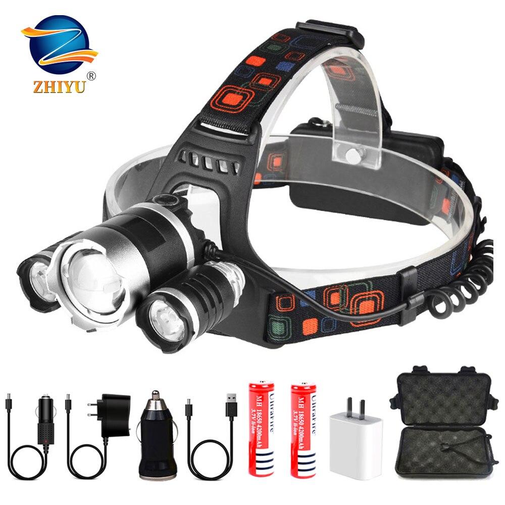 ZHIYU Zoomable Led Headlamp 2 18650 Battery Flashlight Super Bright High Power Headlamps T6 XPE Fishing Explore Led Headlight