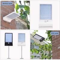 450 루멘 48 led 태양 빛 3 모드 블랙 화이트 방수 야외 정원 벽 울타리 램프 장착 극 또는 아니