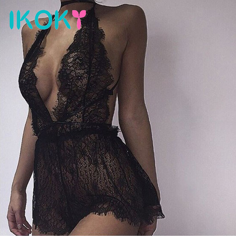 IKOKY Deep-V Sex Underwear Dress Lace Babydoll Transparent Erotic Lingerie Sexy Costumes Women Sexy Lingerie