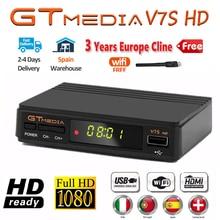 חם DVB S2 GTMedia V7S HD מקלט לווין FTA 1080p סופר מפענח עבור ספרד טלוויזיה תיבת קולטן Youtube GT מדיה freesat V7