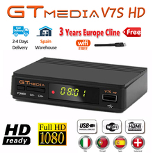 Sıcak DVB S2 GTMedia V7S HD uydu alıcısı FTA 1080p süper dekoder İspanya için TV kutusu reseptör Youtube GT medya Freesat V7