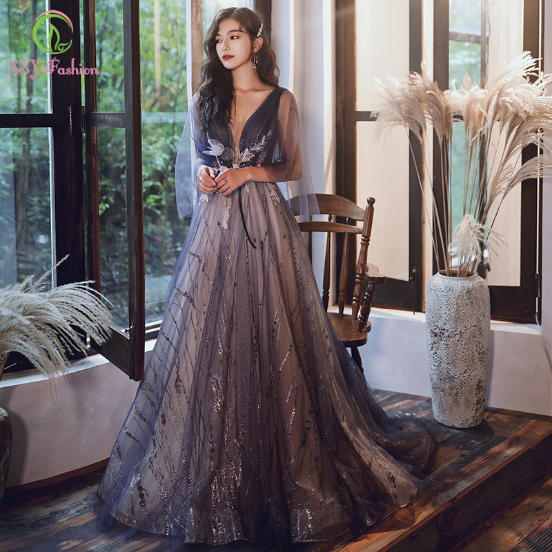 SSYFashion New Purple Long Evening Dress Luxury V-neck Lace Appliques Long Prom Gowns Custom Formal Dresses Vestido De Noche