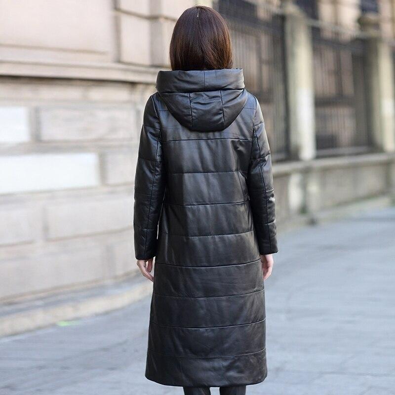 Women 2020 Genuine Leather Jacket Long Duck Down Coats Hooded Warm Winter Real Sheepskin Coat Female Plus Size B0309