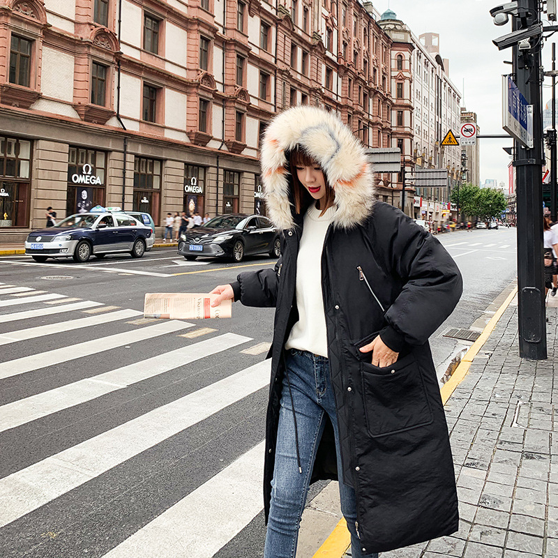 2019 Winter New Style Korean-style Down Jacket Women's Mid-length Large Fur Collar Slim Fit Slimming Thick Coat Off Season Speci