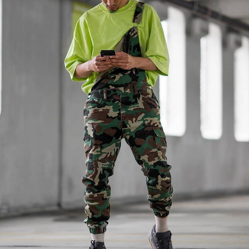 Single Shoulder Jeans Pantalones <font><b>Hombre</b></font> Camouflage Print Denim <font><b>Jumpsuits</b></font> Strap Pencil Overalls Casual Distressed Jeans Pant image