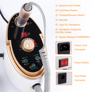Image 3 - Electric Nail File Drill 35000RPM 65W Manicure Pedicure Machine Strong Nail Art Gel Polishing Grinding Device Nail Drill Bits