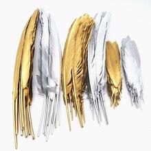 Оптовая продажа 10-100-500 шт золотой цвет Гусь/утка/турецкие перья Сделай Сам свадебные украшения, аксессуары для поделок