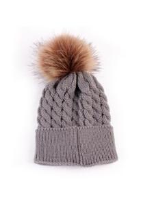 Winter Warm Beanie Hat for Mom Mother Newborn Baby Toddler Kids Boys Girls Fur Pom Pom
