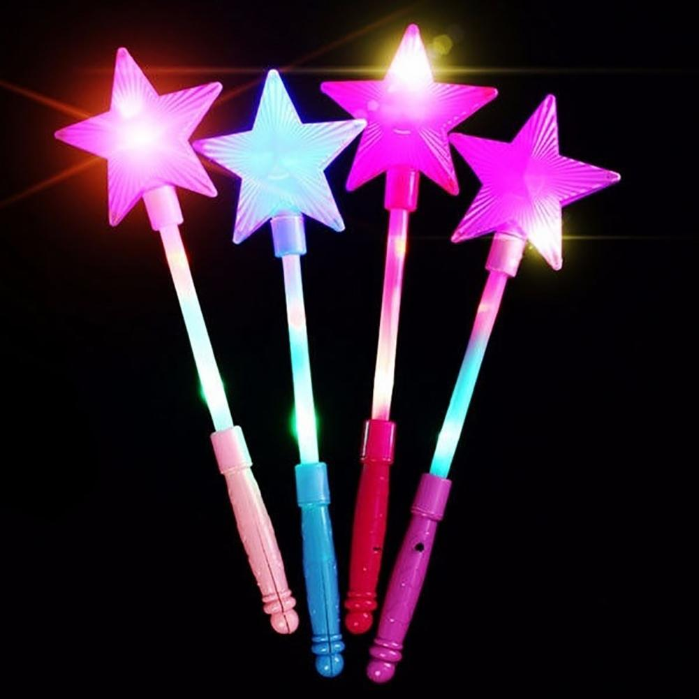 LED Flashing Glow Stick Wand Five-pointed Star Fairy Wand Kids Toy Stars Flashing Sticks Colorful Glow Sticks Show PropsToy