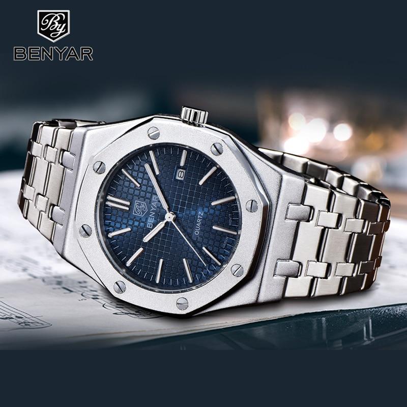 2019 New Fashion Mens Watches With Stainless Steel BENYAR Top Brand Luxury Sports Chronograph Quartz Watch Men Relogio Masculino