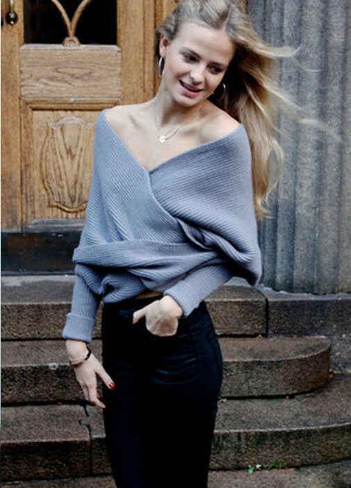 가을 겨울 여성 스웨터와 풀오버 한국어 스타일 긴 소매 멀티 웨이 랩 스웨터 솔리드 니트 점퍼 스웨터 mujer