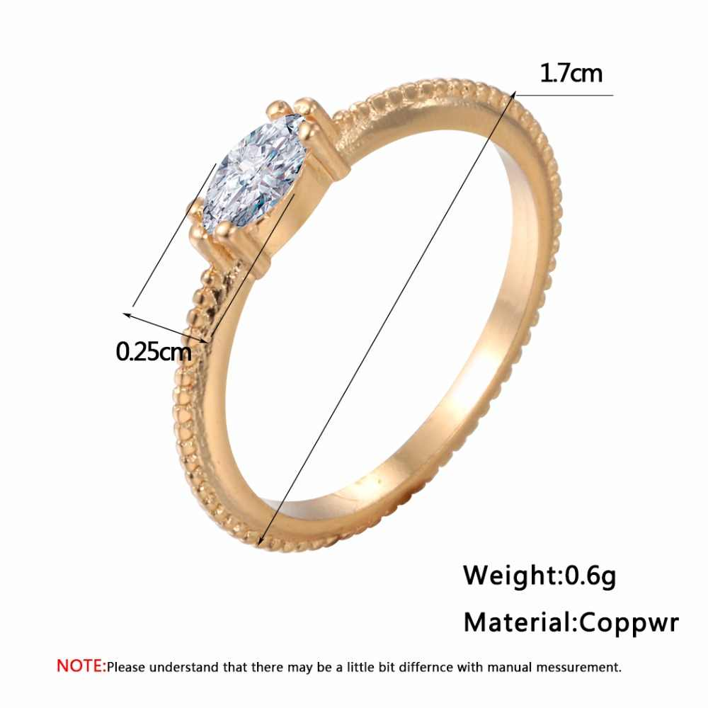 QIMING Moda CZ Anéis Anéis de Casamento Jóias Anéis de Ouro Mulheres Festa Ladies Big Zircon Noiva Anel Melhor Amigo Agradável Meninas Anéis