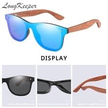 LongKeeper 2020 Mens Sunglasses Polarized Walnut Wood Mirror Lens Sun Glasses Women Brand Design Colorful Shades Handmade