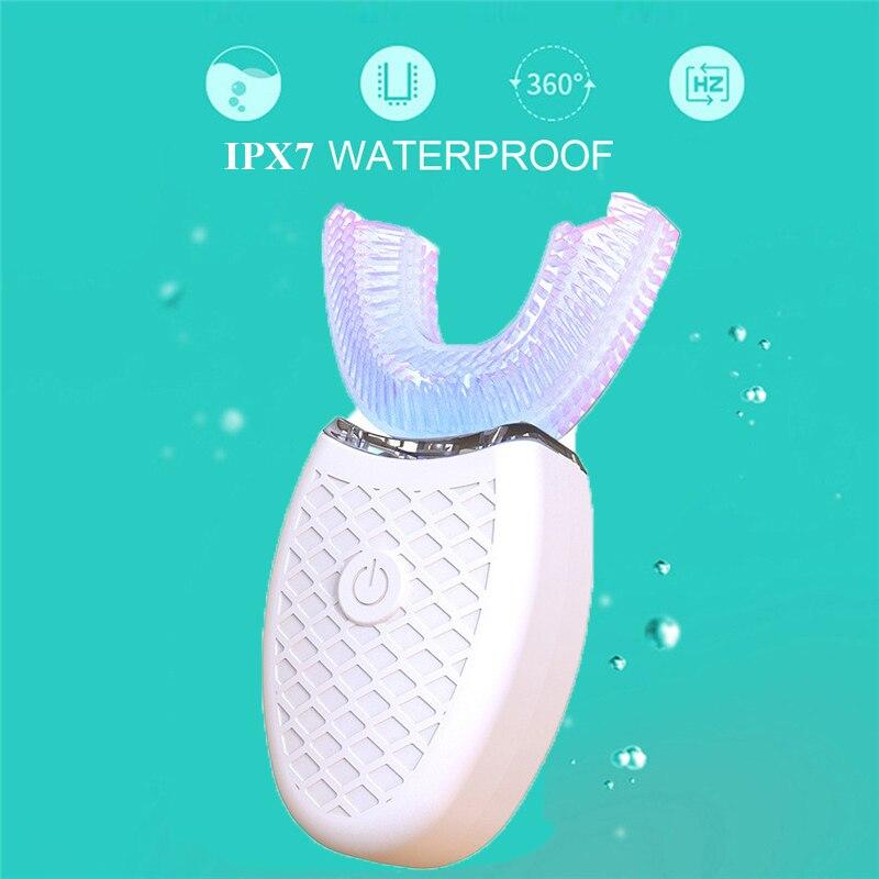 Brosse à dents électrique ultrasonique 360 Nano Silicone en forme de U, brosse à dents automatique sans fil Rechargeable par USB, brosse à dents sonique pour adulte
