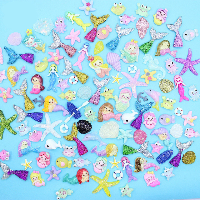 20/30/50Pcs Color Ocean Marine Mermaid Series Flatback Planar Resin Accessories DIY Crafts Supplies Phone Shell Decor Material
