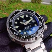 Męski modny zegarek ze stali nierdzewnej zegarek ze stali 300m wodoodporna ceramiczna ramka szkiełka zegarka zielony tuńczyk automatyczny zegarek sportowy do nurkowania