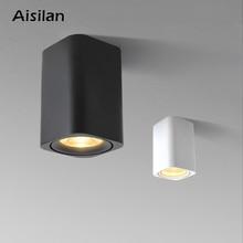 Aisilan LED montowane na powierzchni kwadratowych Nordic oprawa sufitowa do pokoju/korytarz/korytarz/Foyer AC85 260V COB Cube światło punktowe