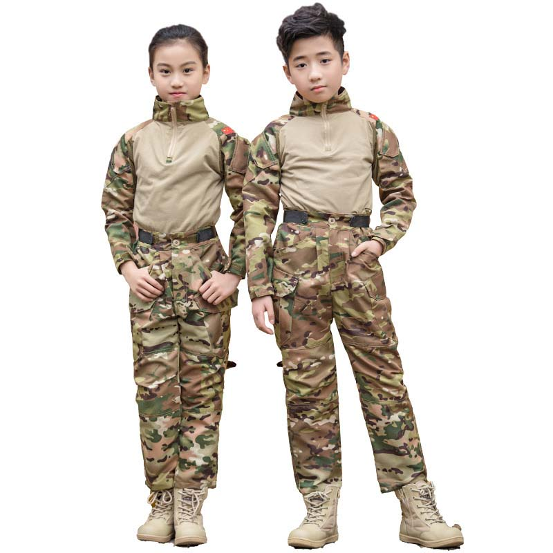2021 Children Military Uniform Tactical Combat Boy Girl Jacket Pants Sets Camouflage Jungle 2Pcs Kids Cosplay Special Army Suit