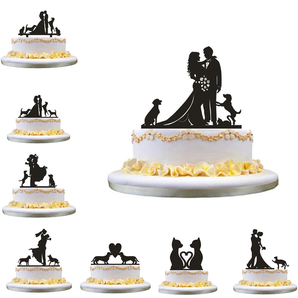 Mixed Funny Style Wedding <font><b>Cake</b></font> <font><b>Topper</b></font> with Pet Dog <font><b>Cat</b></font> Bride & Groom <font><b>Cake</b></font> <font><b>Topper</b></font> MR & Mrs <font><b>Black</b></font> Acrylic <font><b>Cake</b></font> <font><b>Topper</b></font> Decorating image