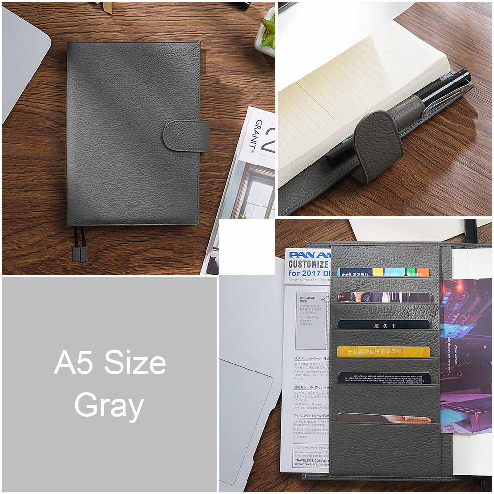 Image 2 - New Arrivals Genuine Leather A6 notebook Diary planner journal Stationery small notepad Agenda Organizer Big Pocket-in Notebooks from Office & School Supplies