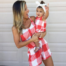 Mother daughter family matching outfits clothes plaid parent