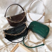 Женская сумка через плечо с крокодиловым узором модная мессенджер