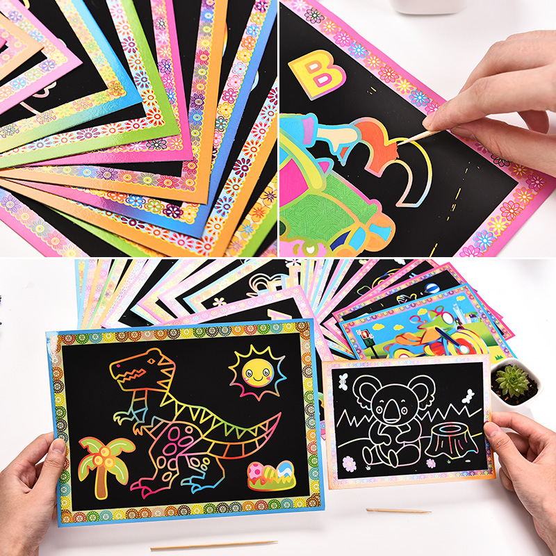 8Pcs/set 17.2X12.6cm Scratch Art Paper Magic Painting Paper With Drawing Stick For Kids Colorful Drawing Toys For Children Art
