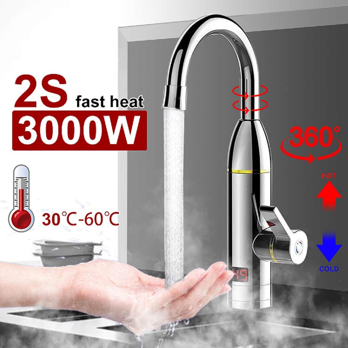 220V Electric Instant Hot Water Heater Faucet Tap Bathroom Kitchen 3000W Display
