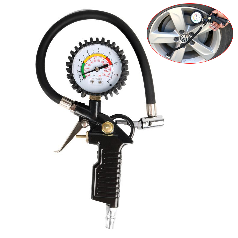 Aletler'ten Basınç Göstergeleri'de 0 220 psi Tire Pressure Tester Auto Car Bike Tyre Air Pressure Gauge Tire Inflator Pneumatic Tool Gauge Compressor Pressure Gaug title=
