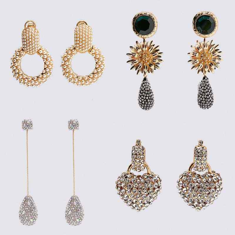 Dvacaman ZA Bling Crystal Earrings Women Handmade Beaded Sun Flower Long Dangle Drop Earrings Heart Love Round Statement Earring