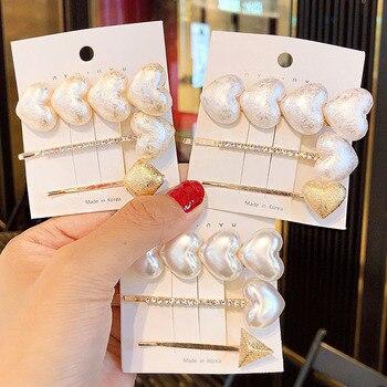 3PCS/Set Ins New Women Elegant Pearls Crystals Alloy Hairpins Sweet Hair Ornament Hair Clips Barrettes Fashion Hair Accessories