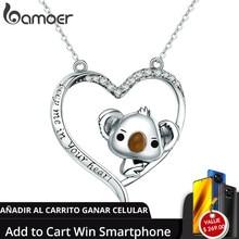 Bamoer alta qualidade real 925 prata esterlina adorável coala no coração pingente colares para as mulheres prata esterlina jóias scn256