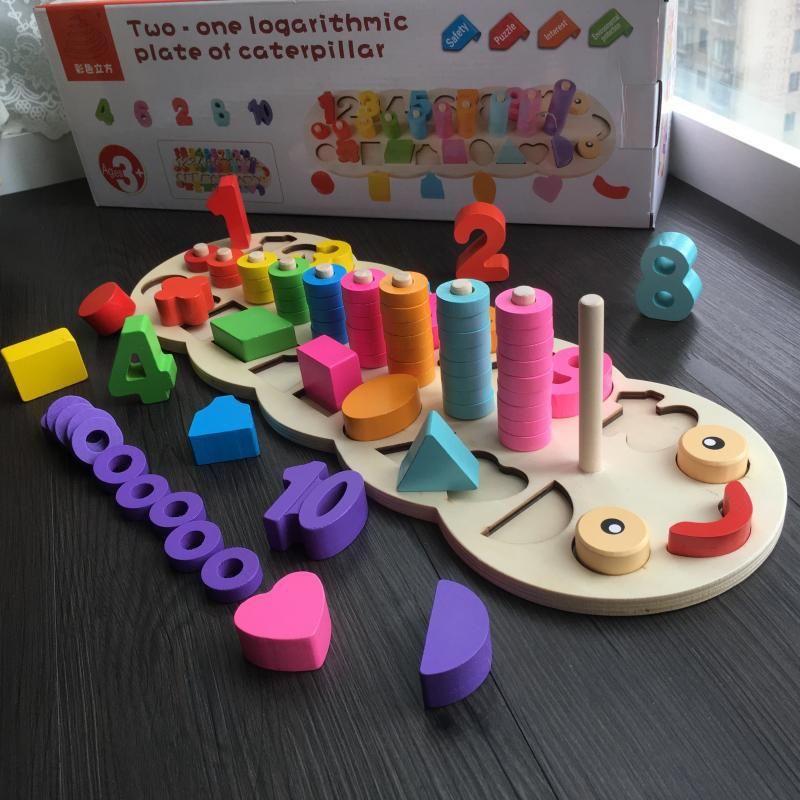 Infants Children With Numbers Logarithmic Shape Early Childhood Educational Board 1-2-3-Year-Old Teaching Aids Shape Matching Bu