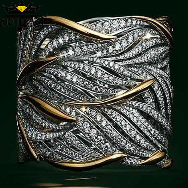 كامل الزركون التفاف متعدد الطبقات الذهب نغمتين 925S خاتم الرجال والنساء متعدد شريط الذهبي فلاش ريشة خاتم فاخر خاتم الماس