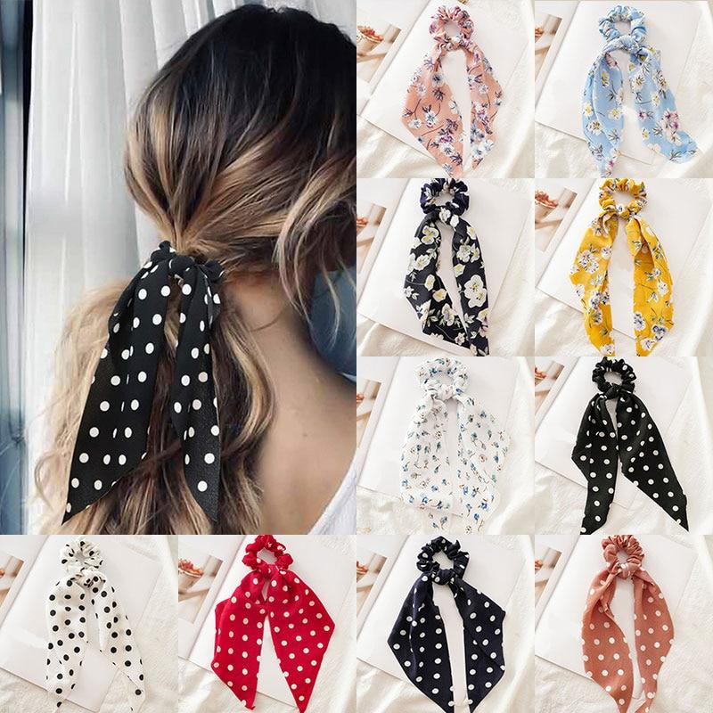 Femmes banderoles chouchous à pois imprimé Floral élastique noeud cheveux corde fille cheveux cravates coréen doux cheveux accessoires chapeaux 5