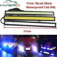 цена на Waterproof Daytime Running Lights Auto Lamp Drl COB Driving Fog Lamp Update Ultra CAR LED DC 12V 17cm 2Row 76 Leds Auto Styling