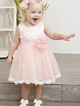 Short Pink Flower Girl Dress for Wedding Party Handmade Flower Sash Knee Length Lace Baby Birthday Communion Dress Pageant Gowns fresh pink and white flower girl dresses knee length crystals rhinestones princess pageant dress with bow 1st birthday outfit