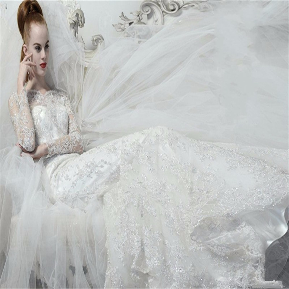 Atelier Aimee 2018 Stunning Luxury Crystals Lace Mermaid Long Sleeve Bridal Gowns With Tulle Train Mother Of The Bride Dresses