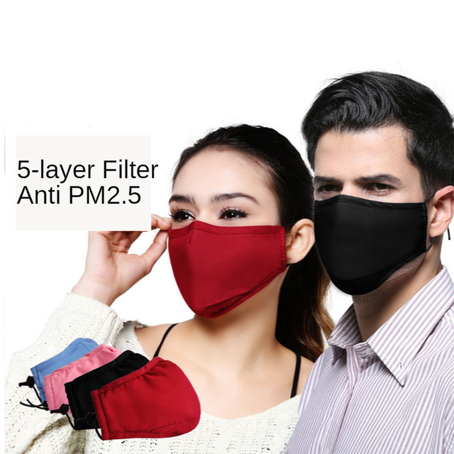 Cotton PM2.5 Black Mouth Mask Anti Dust Mask Activated Carbon Filter Windproof Mouth-muffle Bacteria Proof Flu Face Masks Care