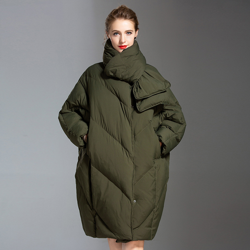 Down   Jacket Female 2019 Fashion Plus Size White   Down     Coat   Winter Scarf Thicken Parkas Warm Loose Full Sleeve Outdoor Wear Clothe
