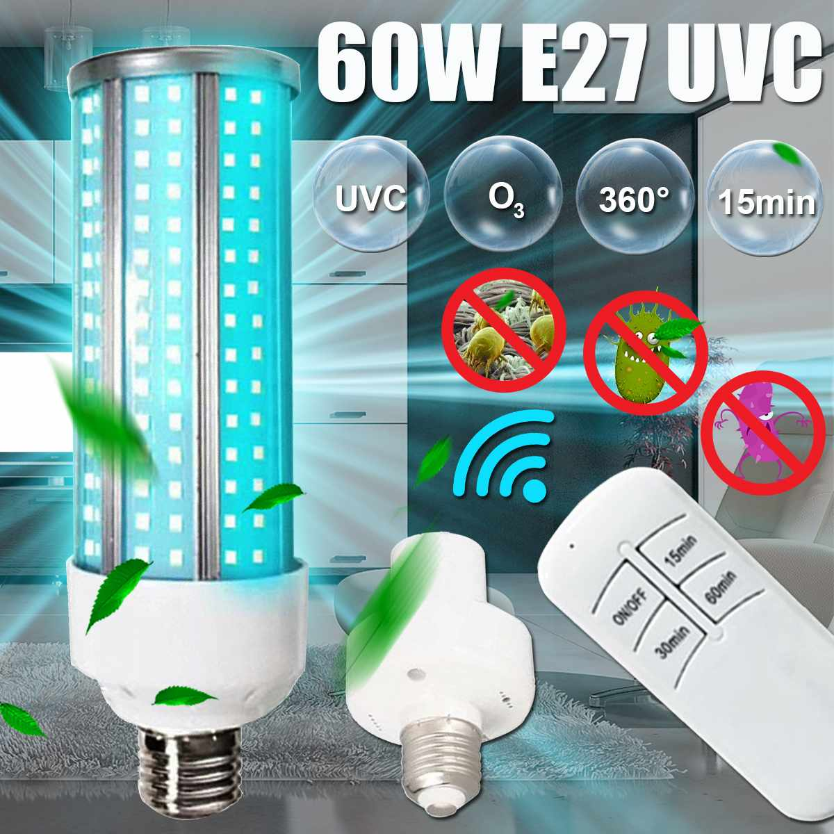 60W <font><b>E27</b></font> UVC Corn Light Sterilizer <font><b>UV</b></font> Ozone Germicidal Lamp with Timer Function Remote Control Ultraviolet Disinfection LED <font><b>Bulb</b></font> image