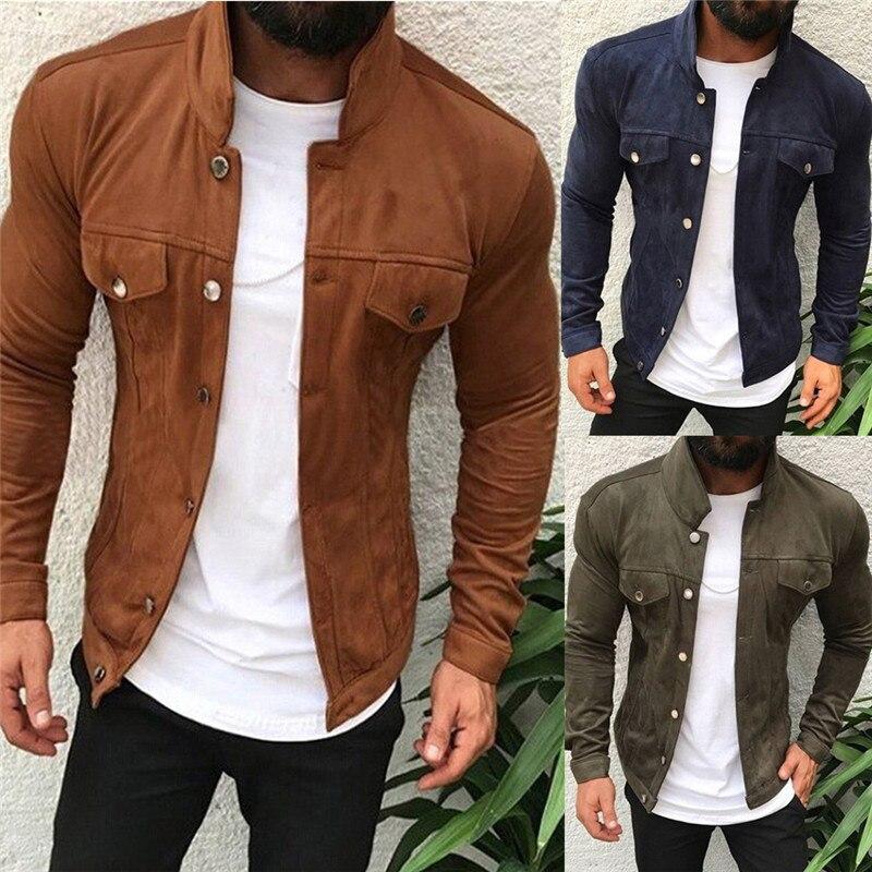 Mens Classic-Button Cowboy-Coat Winter-Fall Denim-Fleece-Jacket XL