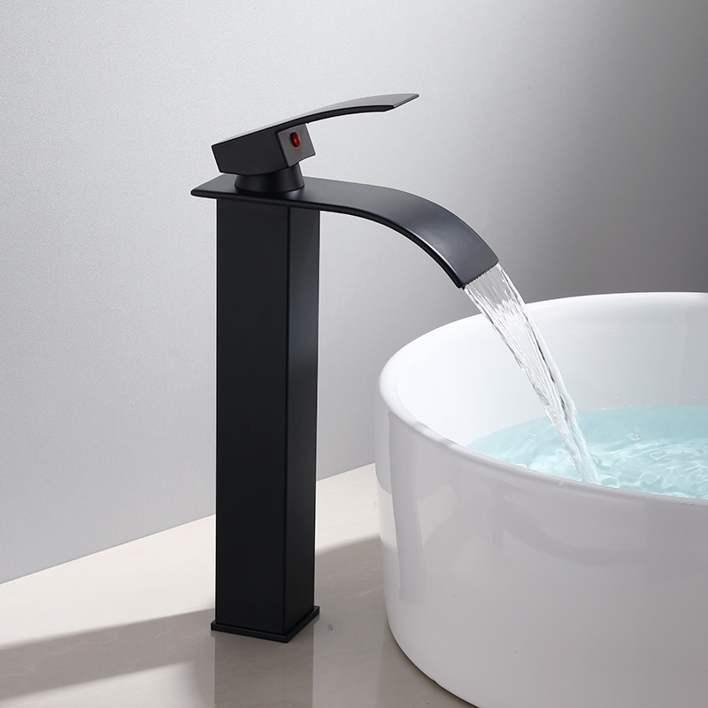 Basin Faucet Black Waterfall Faucet Mixer Tap Brass Bathroom Faucet Bathroom Basin Faucet Mixer Tap Hot and Cold Sink faucet