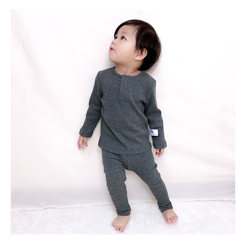 Soft Ribbed Toddler Girl Pajamas For Baby Boys Clothes Set Autumn Winter Children Outfits Long Sleeve Tops Pants 2 Pcs Kids Suit (3)