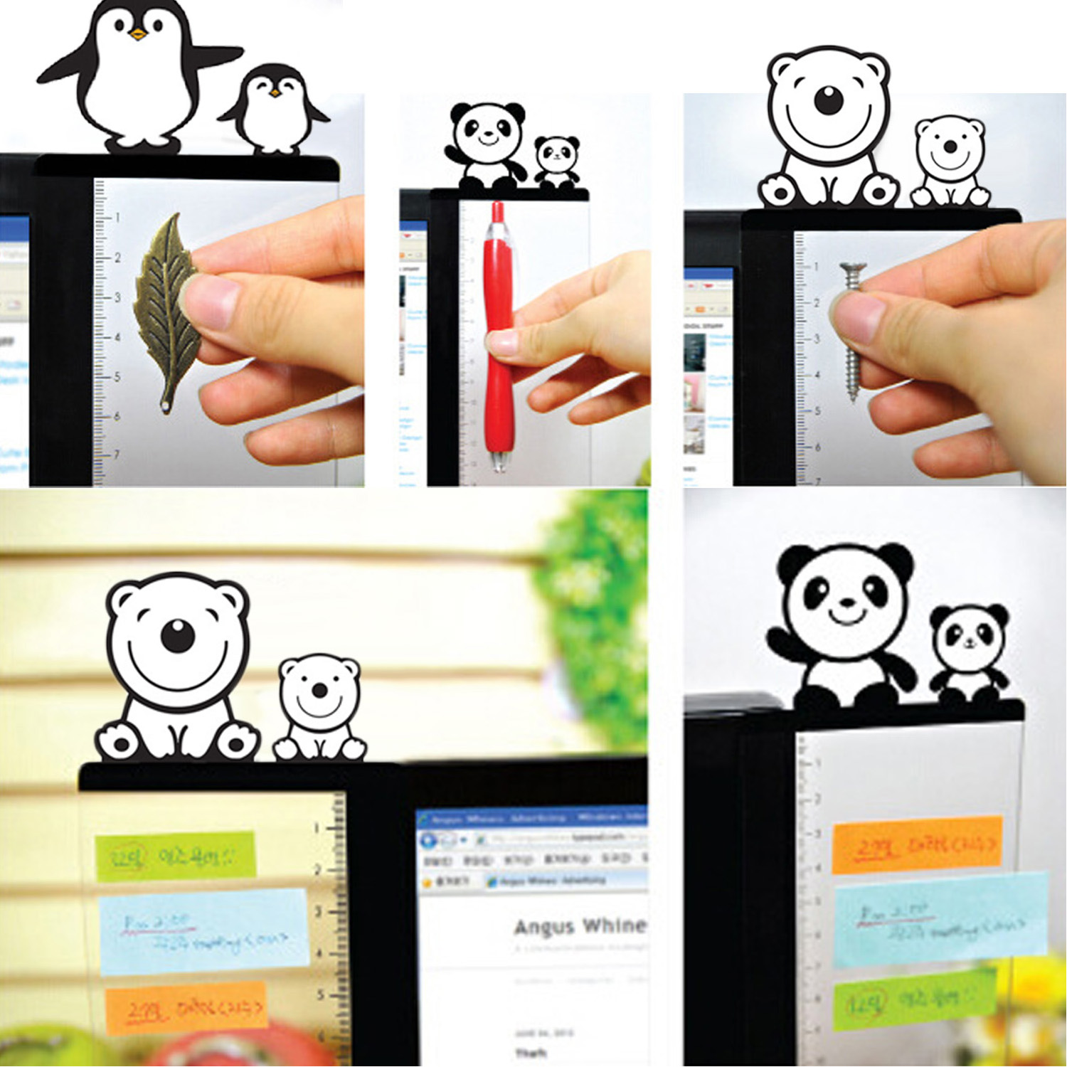 1Pair Cute Acrylic Monitor Memo Board Sticky Notes Message Board Holder For Tabs Phones Computer PC Left And Right Side
