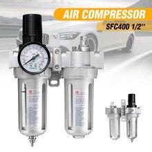 SFC400 1/2 Compressor De Ar Do Regulador do Filtro de Ar do Regulador Lubrificador de Óleo Armadilha de Umidade Água com Peças de Conexão Pneumática