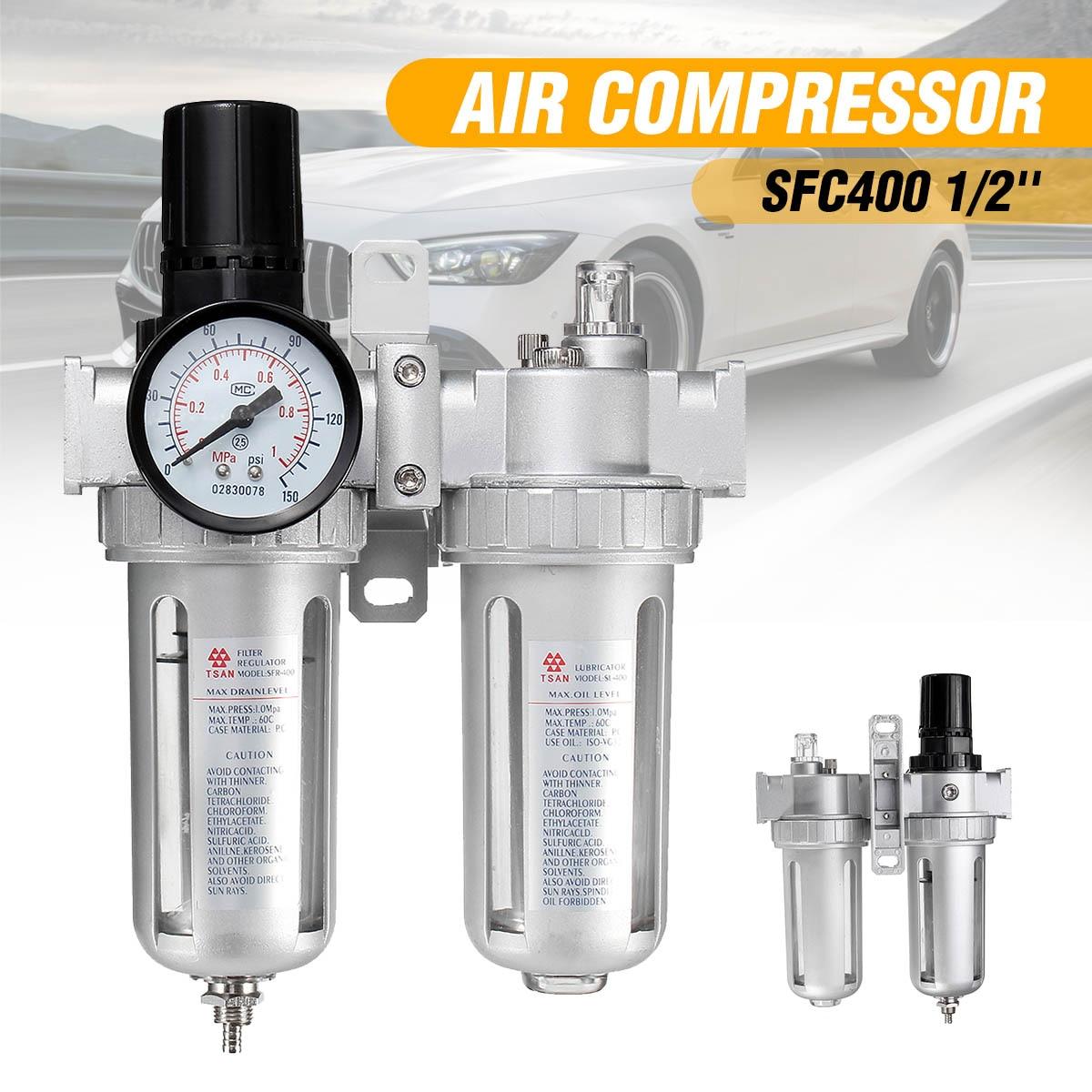 SFC400 1/2 compresseur d'air humidité eau lubrificateur d'huile piège régulateur de filtre régulateur d'air avec connexion pièces pneumatiques