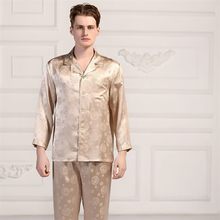 Summer Mens 100% Mulberry Silk Pajamas Suit Long Sleeved Trousers Home Clothes Sleepwear Dragon Jacquard Male pyjamas Pants Sets