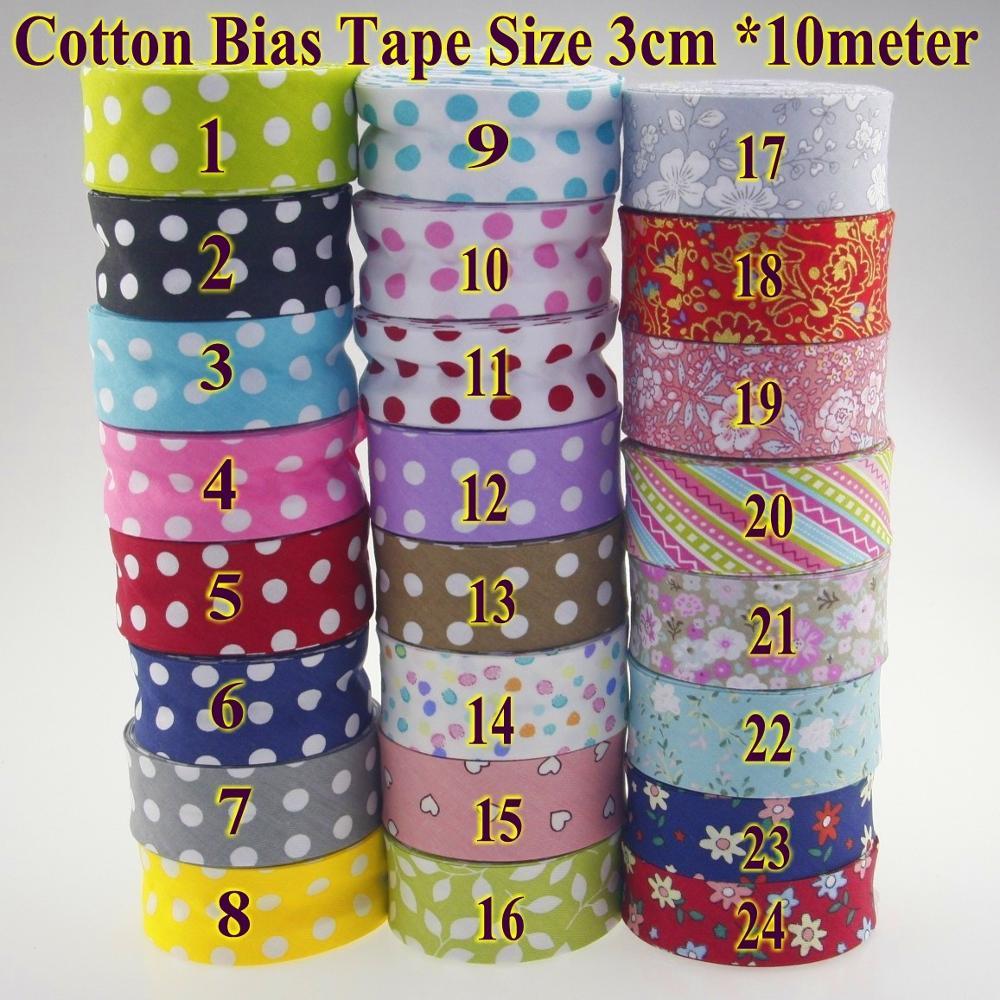 Quality Floral Pattern Spot Stripe Cotton Prefold Bias Binding 20mm per metre